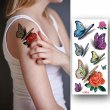 Kotbs 12 Sheets Bright 3d Temporary Tattoos for Women Teens Girls Waterproof Sexy Rose Temporary Floral Tattoo Sticker Body Art Makeup Fake Tattoos Transfer Paper
